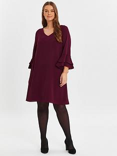 evans-wine-v-neck-frill-sleeve-dress
