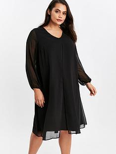 evans-long-sleeve-black-split-front-dress-black