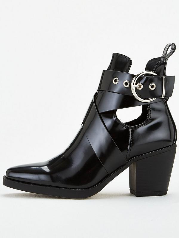 Wide Fit Black Buckle Side Chunky Biker Boots Add to Saved Items Remove from Saved Items