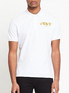 just-cavalli-metallic-logo-print-polo-shirt-white