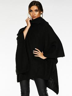 quiz-polo-neck-poncho-black