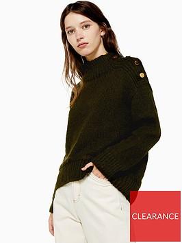 topshop-button-shoulder-detail-knitted-jumper-khaki