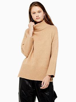 topshop-deep-hem-knitted-jumper-camel