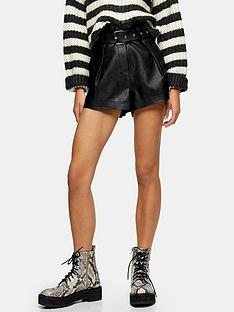 topshop-pu-belted-shorts-black