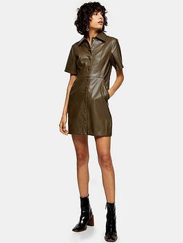 topshop-pu-shirt-dress-khaki