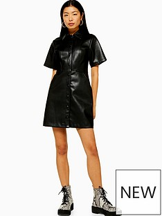 topshop-pu-shirt-dress-black