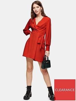 topshop-petite-twist-front-mini-dress-red