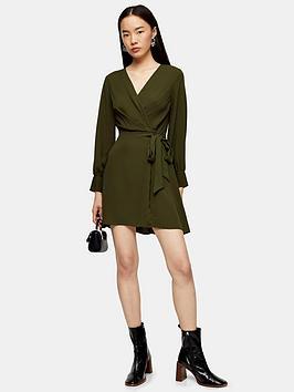 topshop-twist-front-mini-dress-khaki