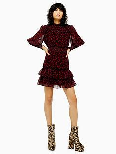 topshop-ruffle-shirred-mini-dress-red
