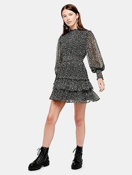 topshop-ruffle-shirred-mini-dress-mono