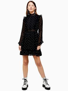 topshop-dobby-spot-mini-dress-black