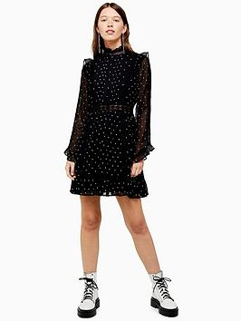 topshop-dobby-spot-mini-dress-black