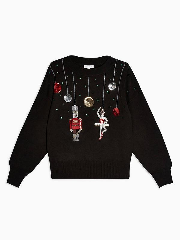 Sequin Nutcracker Christmas Jumper Black