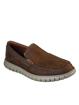 skechers-leather-slip-on-loafers-brown