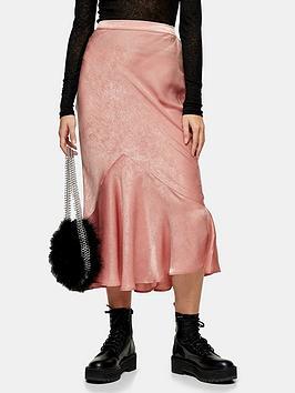 topshop-plain-satin-flounce-midi-skirt-pink