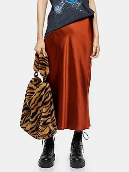 topshop-topshop-split-satin-bias-midi-skirt-rust