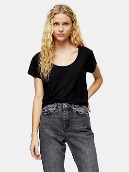 topshop-scoop-neck-viscose-t-shirt-black