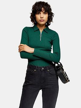 topshop-long-sleeve-zip-polo-top-green