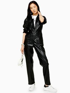 topshop-pu-boilersuit-black