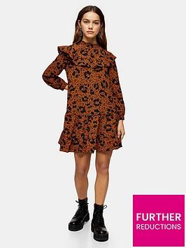 topshop-petitenbspruffle-yoke-mini-dress-brown