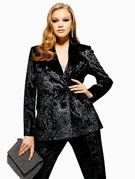 topshop-bonded-velvet-jacket-black