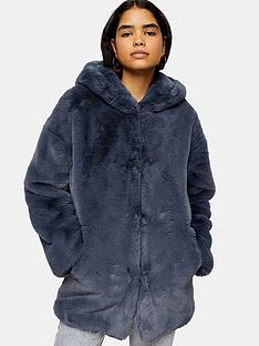 topshop-knight-faux-fur-hooded-coat-blue