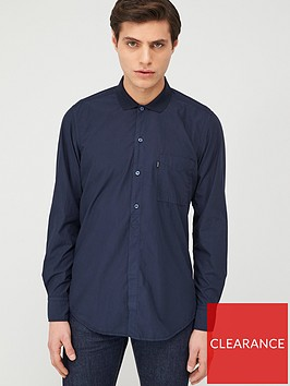 boss-roald-long-sleeve-shirt-with-jersey-collar-navy