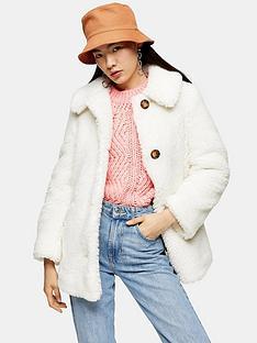 topshop-button-front-borg-coat-white