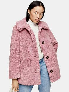 topshop-button-front-borg-coat-pink