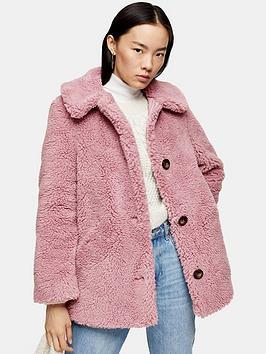 topshop-button-front-borg-coat-pink