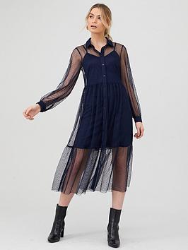 v-by-very-dobby-spot-mesh-shirt-dress-navy