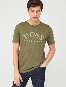 boss-large-curved-logo-t-shirt-khaki