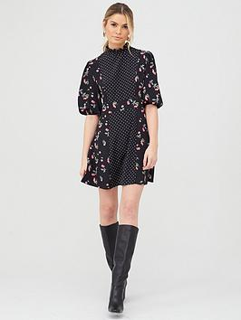 v-by-very-mixed-print-skater-dress-cherry