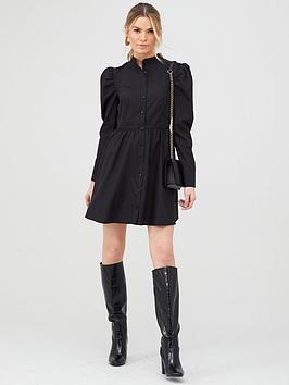v-by-very-cotton-poplin-tiered-shirt-dress-black