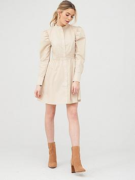 v-by-very-cotton-poplin-tiered-shirt-dress-beige