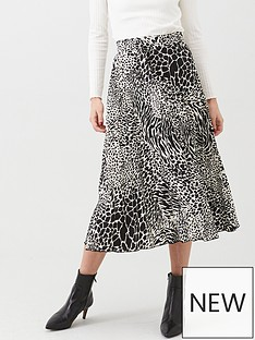 warehouse-mono-animal-pleated-midi-skirt-black