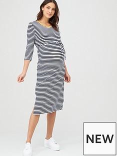 mama-licious-maternity-jersey-striped-midi-dress-whitenavynbsp