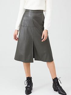 v-by-very-pu-midi-skirt-khaki