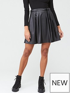 v-by-very-pu-skater-skirt-black