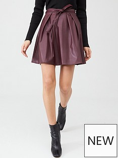 v-by-very-tie-waist-pu-skater-skirt-berry