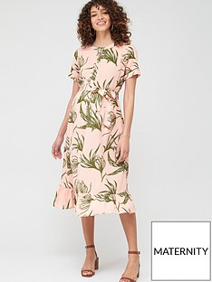 mama-licious-maternitynursing-darling-floral-button-down-midi-dress-pink-green