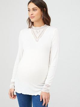 mama-licious-long-sleeved-jersey-lace-insert-top-white