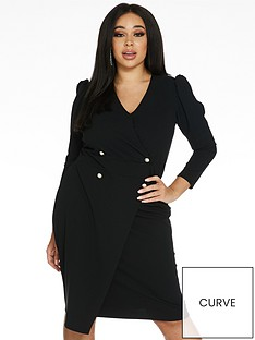 quiz-curve-puff-shoulder-three-quarter-sleeve-wrap-button-midi-dress-black