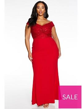 quiz-curve-bardot-lace-knot-front-maxi-dress-red