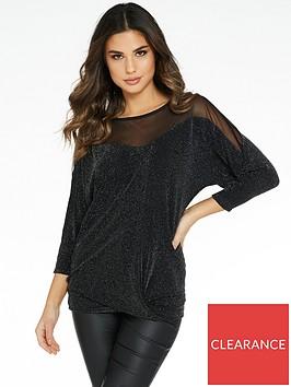 quiz-brillo-sweetheart-knit-bottom-mesh-insert-batwing-top-black