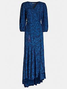 guess-candice-snake-print-wrap-dress-blue