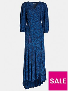 guess-candice-snake-print-wrap-dress-blue
