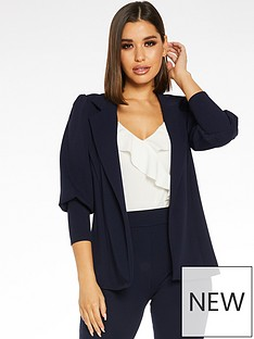 quiz-scuba-crepe-puff-sleeve-with-cuff-jacket-navy