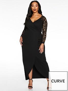 quiz-curve-long-sleeve-lace-wrap-maxi-dress-black