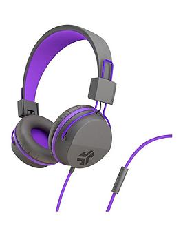JLAB Audio Jbuddies Studio Volume Safe, Folding, Over Ear Kids Headphones With Mic Graphite/Purple Best Price and Cheapest